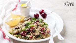 Fresh Cherry Quinoa Salad with Lemon Vinaigrette