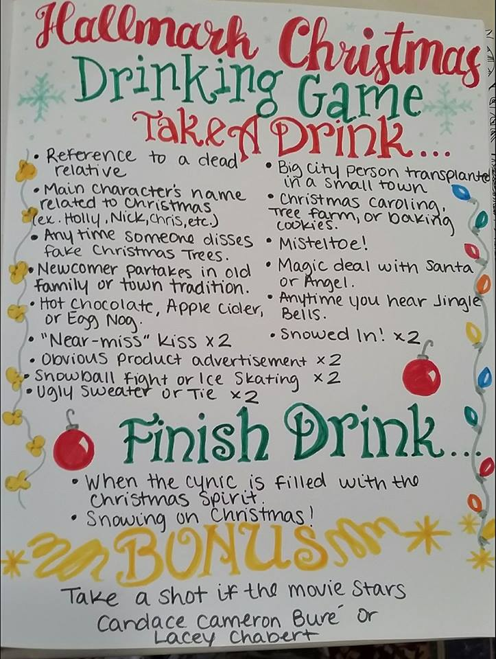 this hallmark christmas movie drinking game is seriously