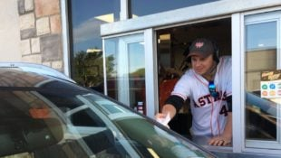World Series Champion Astros Work Local Whataburger Drive-Thru