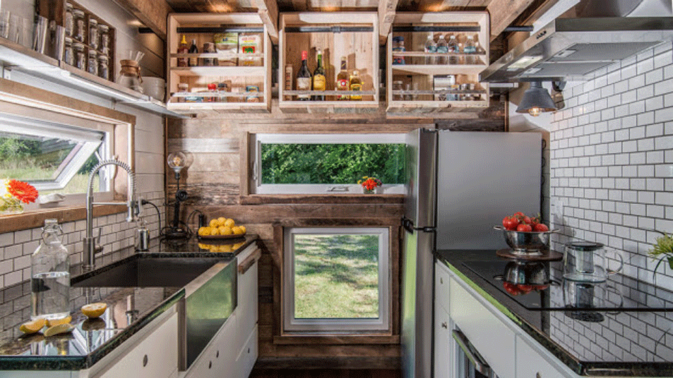 The 11 Tiny House Kitchens That'll Make You Rethink Big Kitchens U Shaped With Peninsula Design Kitchen Open Shelving on l-shaped kitchen with peninsula, remodel kitchens with a peninsula, galley kitchen with peninsula, g shaped kitchen with peninsula,