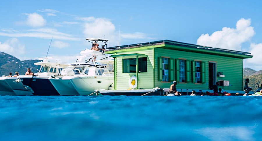 floating taco and cocktail bar