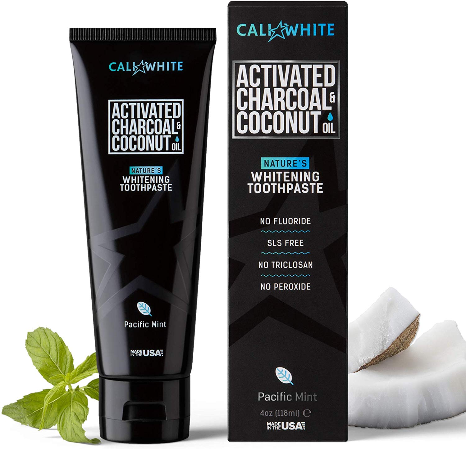 Cali White ACTIVATED CHARCOAL & ORGANIC COCONUT OIL TEETH WHITENING TOOTHPASTE,