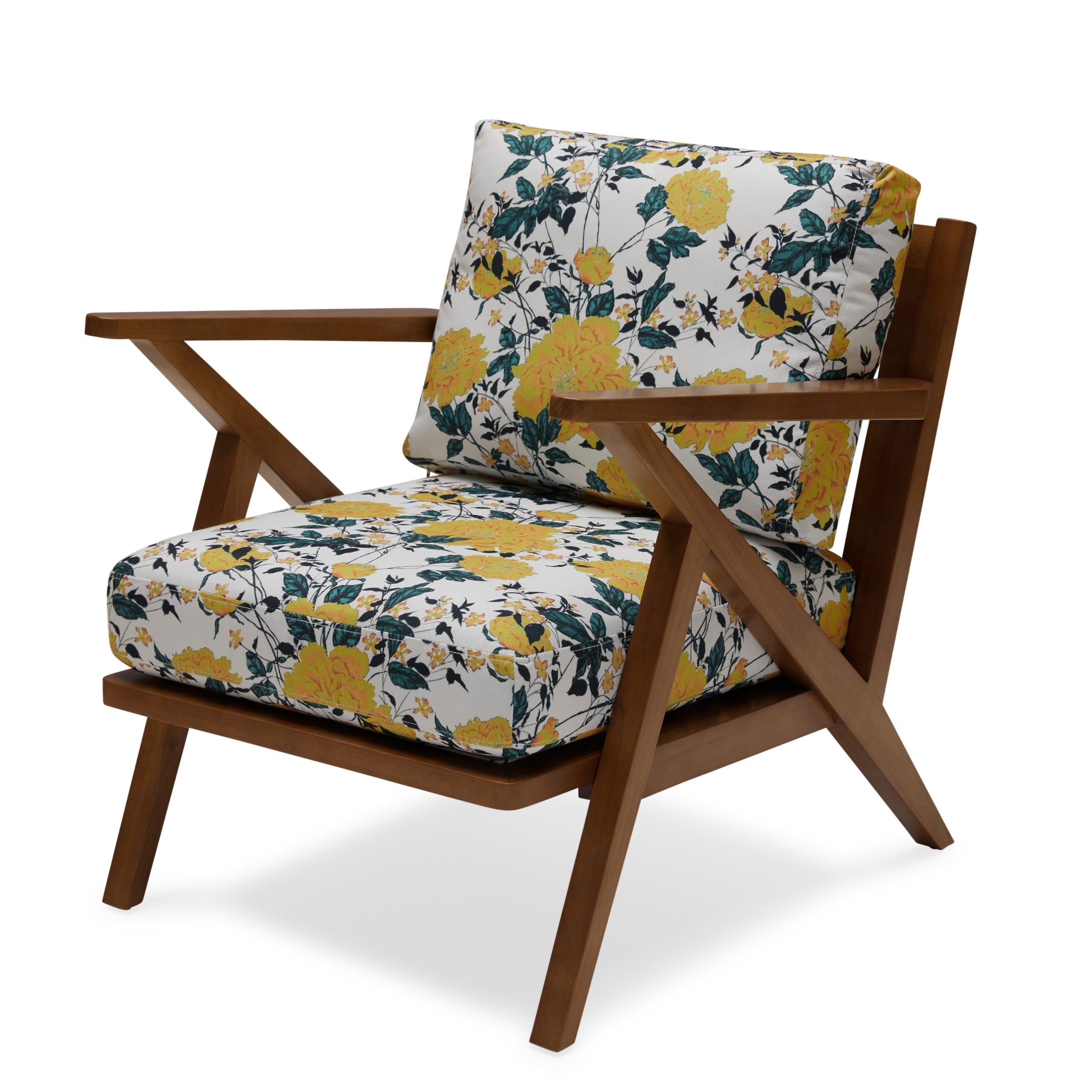 Vintage Floral Mid-Century Accent Chair by Drew Barrymore Flower Home