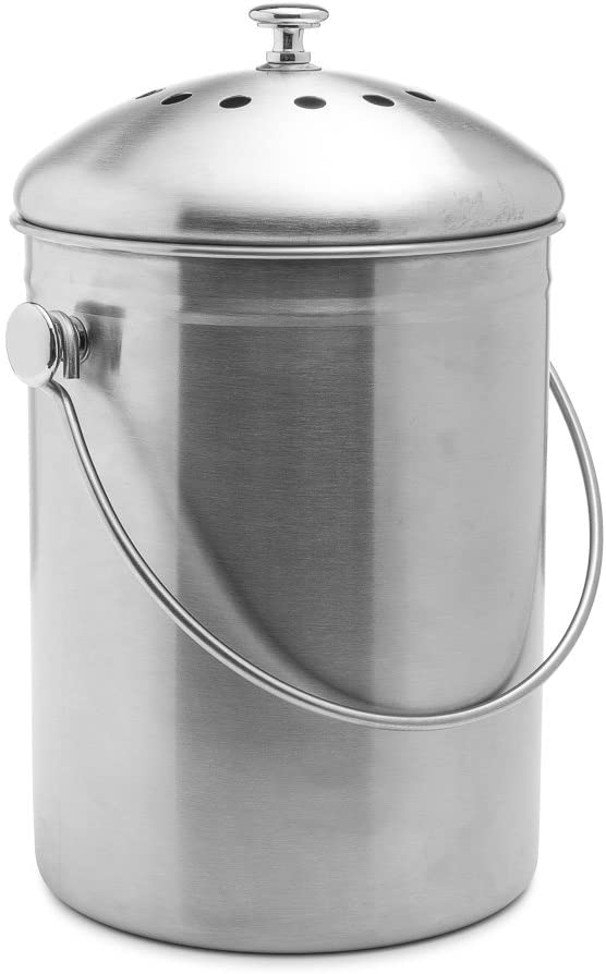 EPICA Stainless Steel Compost Bin 1.3 Gallon-Includes Charcoal Filter