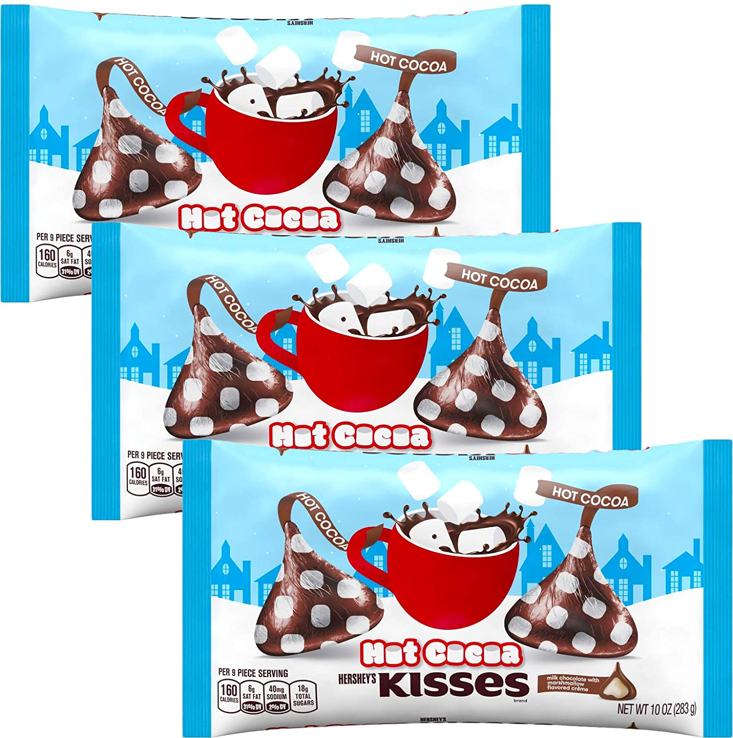KISSES Chocolates - Hot Cocoa - Hot Chocolate Flavored Milk Chocolate Pack - Bulk Christmas Assortment - 10 Ounce Bags (3 Pack) (Hot Cocoa 3 Pack)